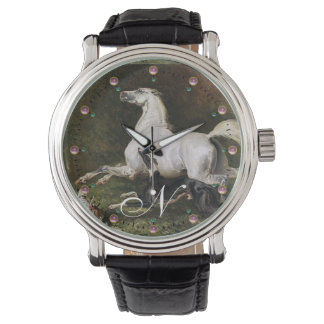 A Grey Arab Stallion Galloping With Dogs Monogram Wristwatch