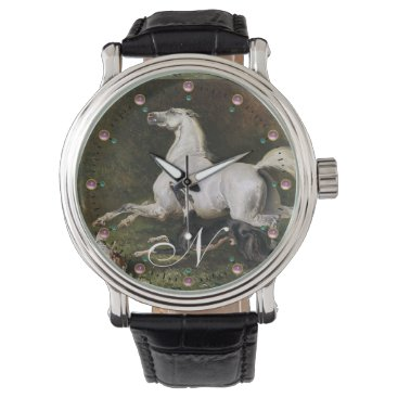 Professional Business A Grey Arab Stallion Galloping With Dogs Monogram Wristwatch