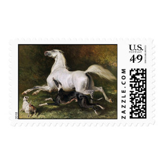A Grey Arab Stallion Galloping With Dogs Postage