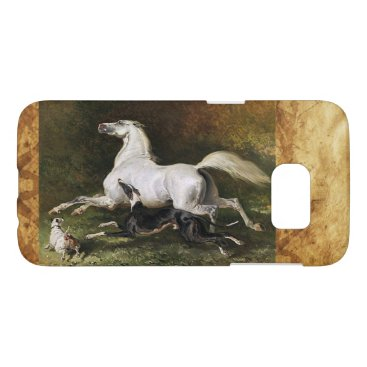 Professional Business A Grey Arab Stallion Galloping With Dogs Samsung Galaxy S7 Case