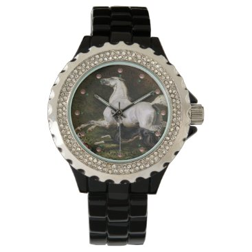 Professional Business A Grey Arab Stallion Galloping With Dogs Wrist Watch