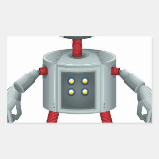 A grey robot rectangular sticker