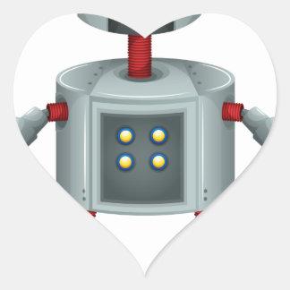 A grey robot heart sticker