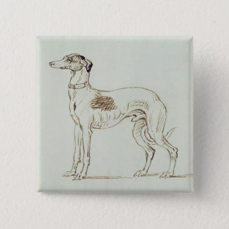 A Greyhound, Facing Left (pen & ink on paper) Button