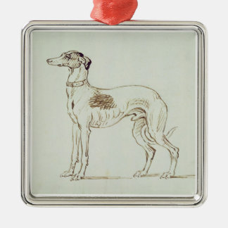 A Greyhound, Facing Left (pen & ink on paper) Metal Ornament
