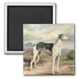 A Greyhound in a hilly landscape 2 Inch Square Magnet