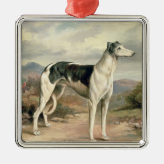 A Greyhound in a hilly landscape Christmas Ornaments