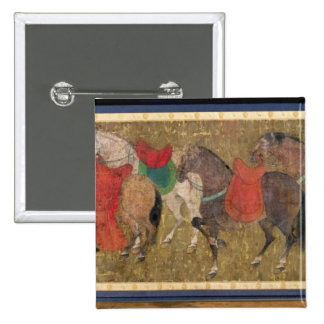 A Groom with Horses Button