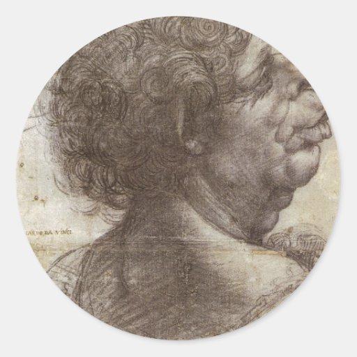 A grotesque head. classic round sticker