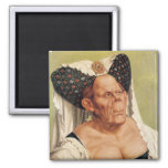 A Grotesque Old Woman, possibly Princess Margaret 2 Inch Square Magnet