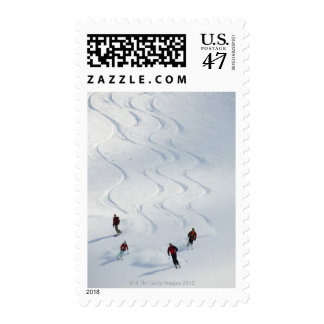 A group of backcountry skiers follow their guide stamp