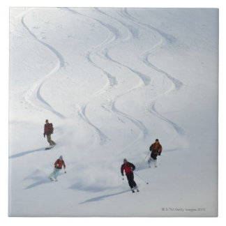 A group of backcountry skiers follow their guide tile