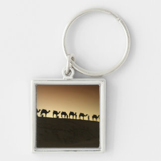 A group of camel herders with their camels at Silver-Colored square keychain