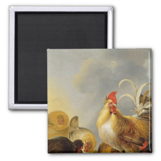A Group of Farmyard Fowl, 1643 2 Inch Square Magnet
