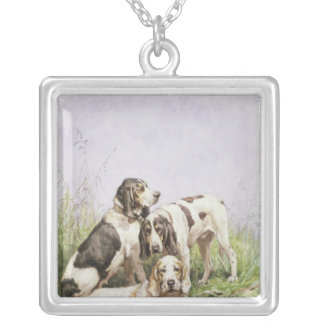 A Group of French Hounds Silver Plated Necklace