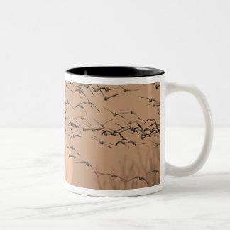 A group of migratory snow geese, Grus Two-Tone Coffee Mug