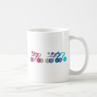 A group of riders coffee mug