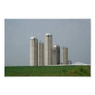 A Group Of Silos On A Farm In Lancaster Pa Print