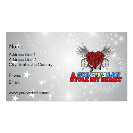 A Guatemalan Stole my Heart Double-Sided Standard Business Cards (Pack Of 100)