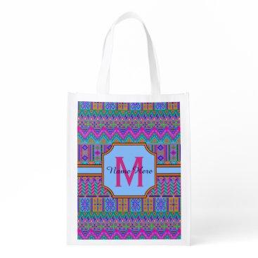 ArtfulDesignsByVikki A Guatemalan Tribal Monogram Multi-Purpose Girly Grocery Bag