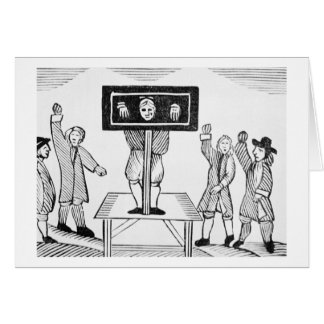 A Guilty Man in the Village Pillory, copy of a 16t Card