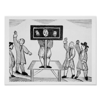 A Guilty Man in the Village Pillory, copy of a 16t Poster