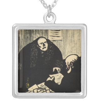 A guilty suspect tries to raise a question silver plated necklace