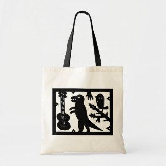 A Guitar, A Dinosaur, And A Bird Tote Bag