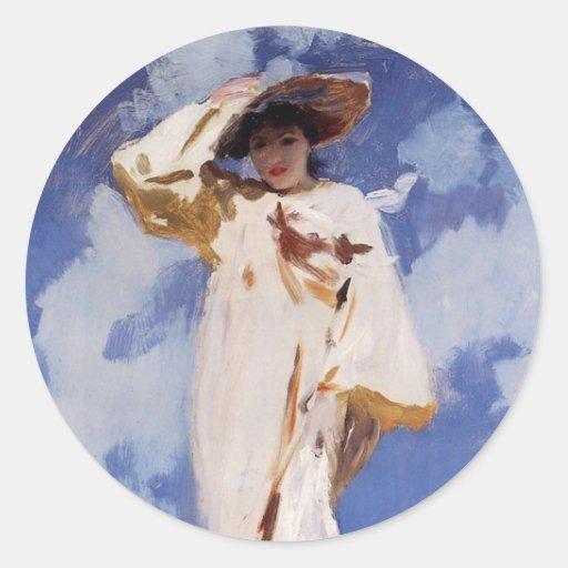 A Gust of Wind by John Singer Sargent Round Sticker