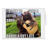 """""""A GUY I ATE"""" Bear with Guitar Greeting Card"""