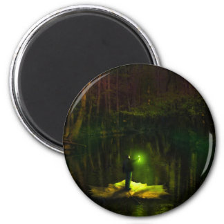 A guy riding on a leaf in the swamp 2 inch round magnet