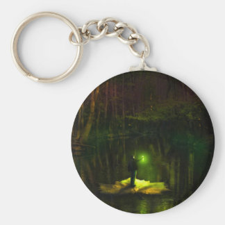 A guy riding on a leaf in the swamp basic round button keychain