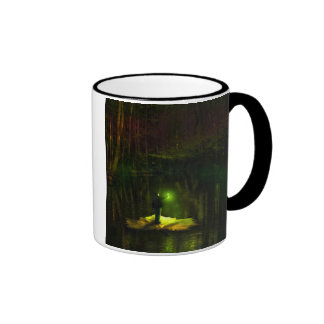 A guy riding on a leaf in the swamp ringer coffee mug