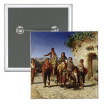 A Gypsy Family on the Road, c.1861 2 Inch Square Button