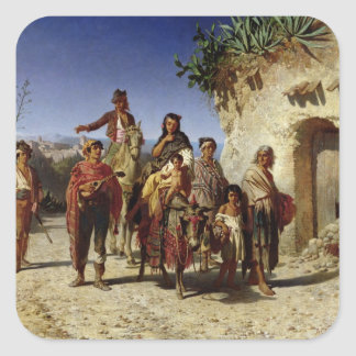 A Gypsy Family on the Road, c.1861 Square Sticker