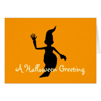 """A Halloween Greeting"" Black Ghost Silhouette (1) Card"
