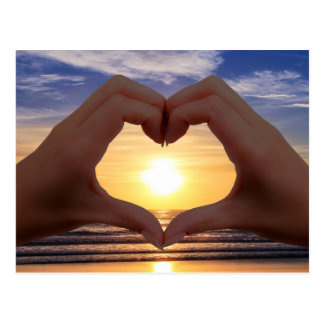 A Hand Heart Sign And Sunset Beach Postcard