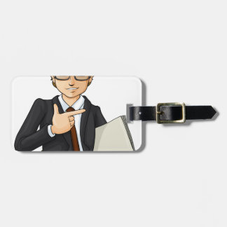 A handsome businessman tag for luggage