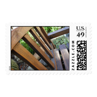 A Handsome Garden Bench in Ojai, California Postage Stamp