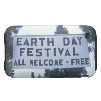 A hanging sign welcoming people to the Earth Day iPhone 3 Tough Case