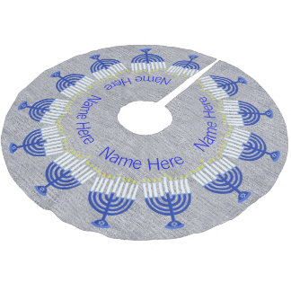 A Hanukkah Dark Blue Menorah Fun Chrismukkah Brushed Polyester Tree Skirt