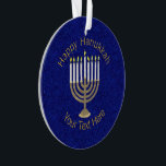 """A Hanukkah Gold Menorah Elegant Chrismukkah Ornament<br><div class=""""desc"""">An elegant Chrismukkah holiday ornament makes a thoughtful gift or keepsake for couples and families who are blending their holidays together to create unique memories for years to come. A deep midnight blue almost sparkly background is the backdrop for my original antique gold Menorah with white candles design. Created exclusively...</div>"""