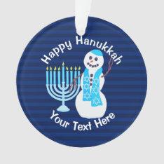A Hanukkah Jewish Snowman Blue Menorah Chrismukkah Ornament at Zazzle