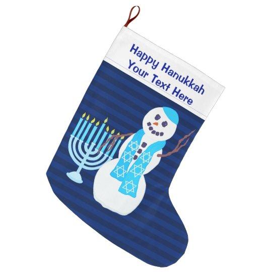 Hanukkah Christmas Stocking.A Hanukkah Jewish Snowman Blue Menorah For Kids Large Christmas Stocking