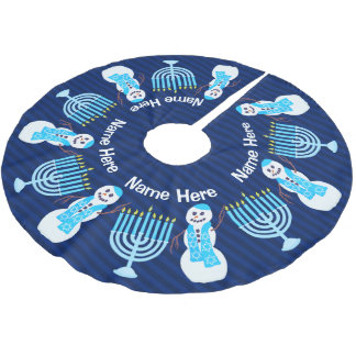 A Hanukkah Jewish Snowman Menorah Chrismukka Fun Brushed Polyester Tree Skirt
