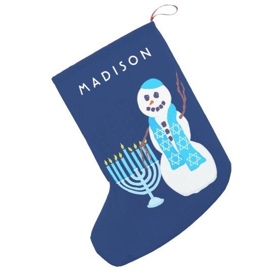 Hanukkah Christmas Stocking.A Hanukkah Jewish Snowman Menorah Sml Chrismukkah Small Christmas Stocking