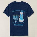 "A Hanukkah Jewish Snowman Put On Your Yamuka Fun T-Shirt<br><div class=""desc"">Put on your Yamuka, it"