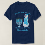"A Hanukkah Jewish Snowman Put On Your Yamuka Fun T-Shirt<br><div class=""desc"">Put on your Yamuka, it&#39;s almost time for Hanukkah! This funny Hanukkah tee shirt with text you can customize features my waving snowman, dressed in his bright blue Yamuka and matching scarf with a Star of David pattern, standing next to his pale blue Menorah with sky blue candles. This cute...</div>"