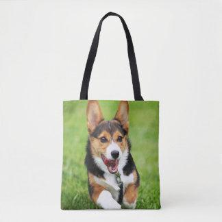 A Happy And Energetic Pembroke Welsh Corgi Puppy Tote Bag