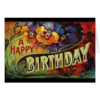A Happy Birthday Vintage Painted Card